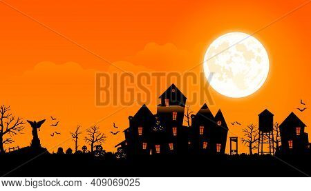 Horror Background. Horror Village Vector Illustration. A Scary Village With Gloomy Houses And An Aba