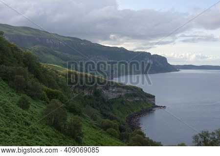 Landscape Image Of A Green Untouched Coastline Off The Isle Of Raasay. A Remote Scottish Location At