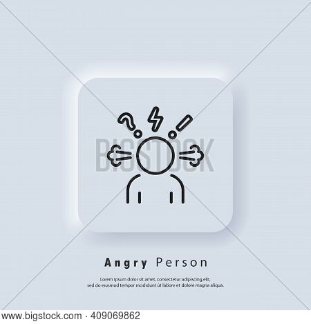 Angry Person Icon. Headache Glyph Icon. Anger And Irritation. Frustration. Aggression Icons. Occupat