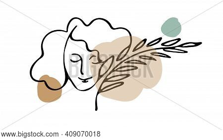 One Line Continuous Drawing Of Face As Abstract Symbol Spring Blooming Or Women Love To Plants Isola