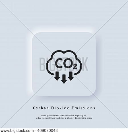 Co2 Icon. Carbon Dioxide Emissions Icon Or Logo. Co2 Emissions. Vector Eps 10. Neumorphic Ui Ux Whit
