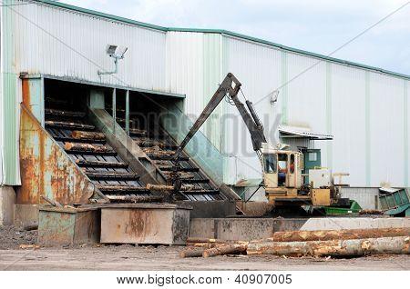 Canada; Quebec; log in a sawmill in Saint Adalbert poster
