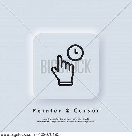 Click Mouse Pointer Icon. Clicking Finger Icon, Cursor. Hand Pointer, Clicking Icons. Neumorphic Ui