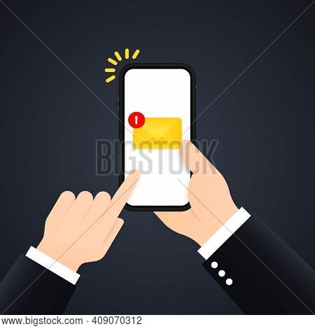 New Email Notification On Mobile Phone, Smartphone Screen. Hand Holds A Mobile Phone With Envelope O