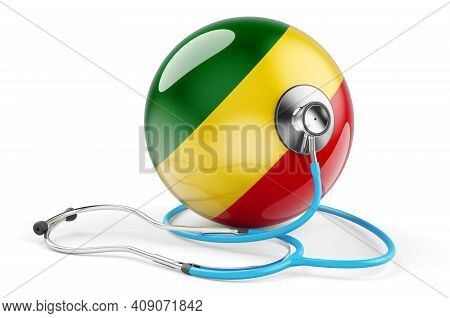 Congo Flag With Stethoscope. Health Care In Congo Concept, 3d Rendering Isolated On White Background