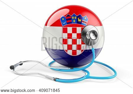 Croatian Flag With Stethoscope. Health Care In Croatia Concept, 3d Rendering Isolated On White Backg