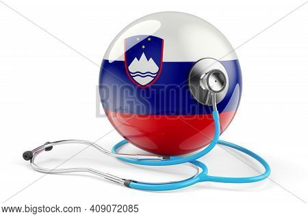 Slovenian Flag With Stethoscope. Health Care In Slovenia Concept, 3d Rendering Isolated On White Bac