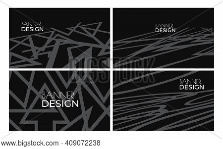 Set Of Black Banner Design Template. Geometric Shapes And Lines. Abstract Flat Vector Illustration.