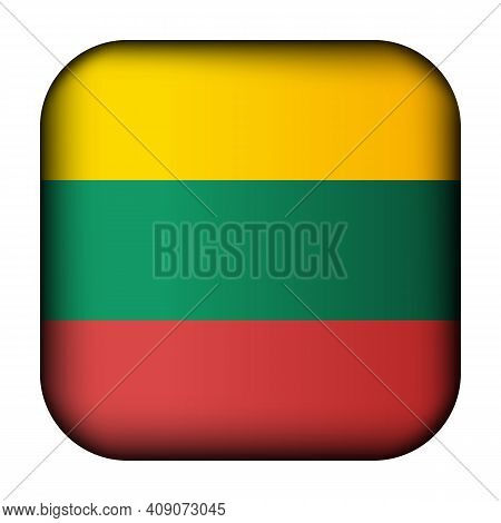 Glass Light Ball With Flag Of Lithuania. Squared Template Icon. Lithuanian National Symbol. Glossy R