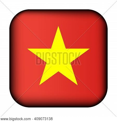 Glass Light Ball With Flag Of Vietnam. Squared Template Icon. Vietnamese National Symbol. Glossy Rea