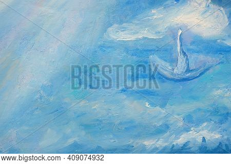 Oil Painting Marine Texture. Illustration Oil Painting For Background. Modern Art Paintings Abstract