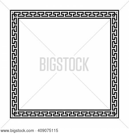 Square Frame With Seamless Meander Pattern. Decorative Border, Made Of Continuous Lines, Shaped Into
