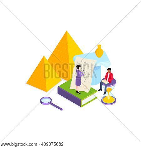 School Subjects Isometric Composition With Images Of Books And Platonic Solid Bodies With Teacher An