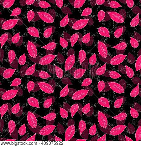 Floral Seamless Pattern With Pink Exotic Leaves On Black Background. Tropic Branches. Fashion Vector