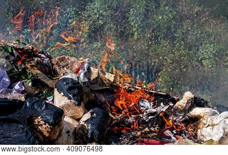 Fire Burn Garbage Waste Plastic, Smoke Polluted Of Waste Plastic Incineration, Garbage Waste Disposa