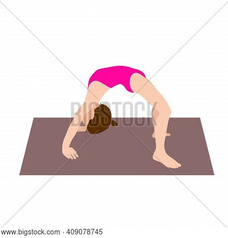Young Girl Gymnast Exercise Sport Athlete. Vector Illustration. Training Performance Strength Gymnas