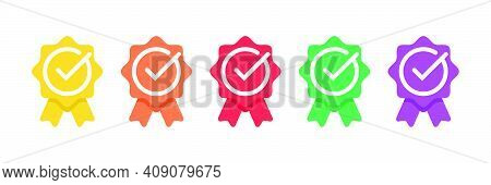 Certified Badge Logo With Checklist Icon Or Approved Medal. Available In Modern Colors. Vector Illus