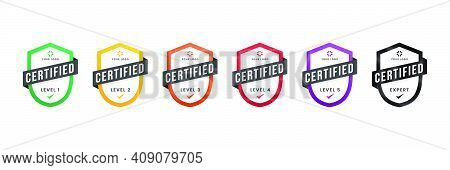 Certified Logo Badge. Criteria Level Digital Certificate With Shield Logo Line. Vector Illustration