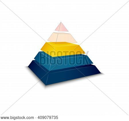 Colorful Assembled Pyramid Chart Icon Realistic Vector Illustration