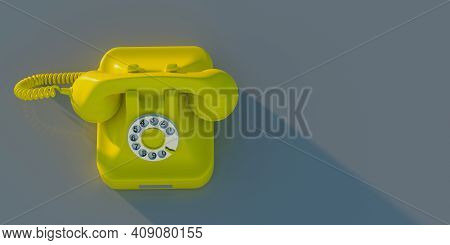 Retro Telephone, Yellow Old Phone On Grey Background, Copy Space. 3D Illustration