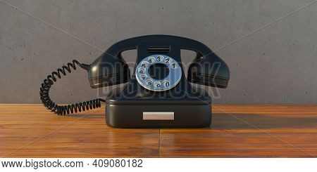 Vintage Telephone, Black Old Phone Wooden Table. 3D Illustration