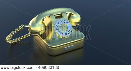 Retro Telephone, Golden Old Phone On Black Background, Copy Space. 3D Illustration