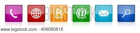 Set Of Colorful Square Internet Vector Icons For Web Design