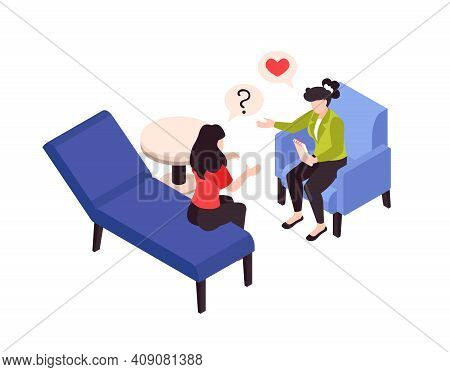 Psychologist Psychiatrist Isometric Composition With Stress Behavior Love Problems Treatment Session