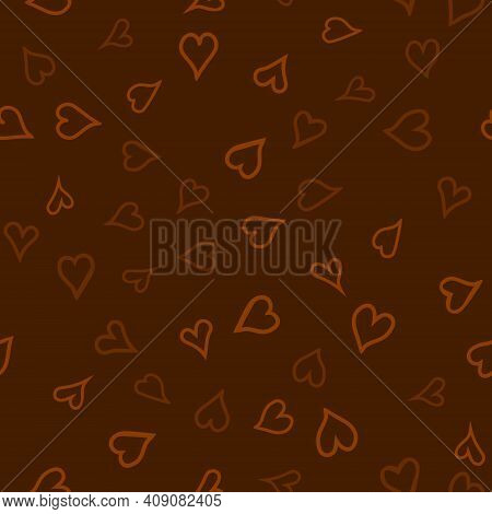 Chaotic Vector Colored Doodle Hearts Seamless Pattern - For Valentine's Day