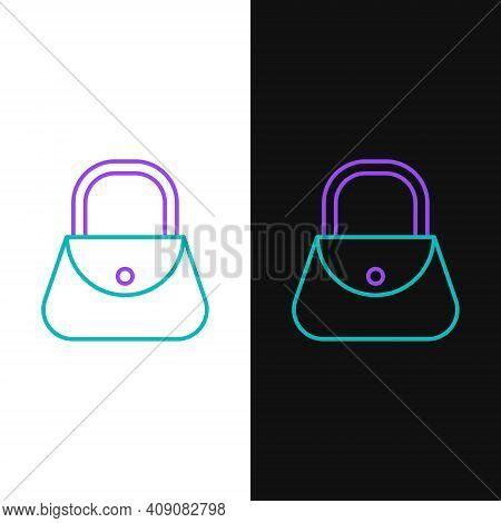 Line Handbag Icon Isolated On White And Black Background. Female Handbag Sign. Glamour Casual Baggag