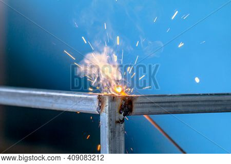 Welding Sparks, Construction And Metal Work Industrial Concept, Metal Welding With Sparks, Laborer O