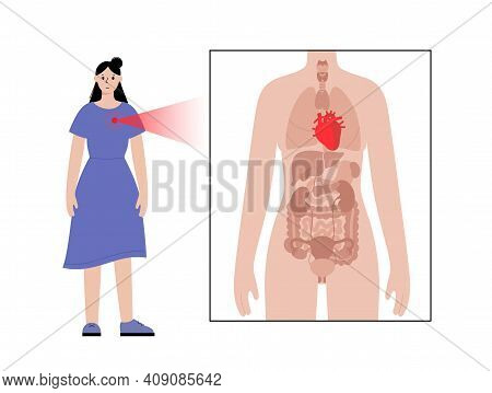 Pain Or Inflammation In Heart. Adult Woman Anatomy Poster. Ache In Female Human Body. Internal Organ