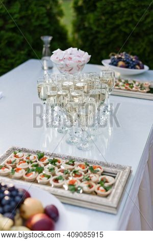 Catering Service. Restaurant Table With Food At Event.