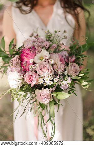 Bridal Bouquet In Boho Style. Bridal Bouquet.