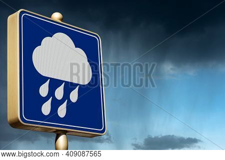 Closeup Of A Blue And White Bad Weather Sign With Rainy Sky On Background And Copy Space. Photograph