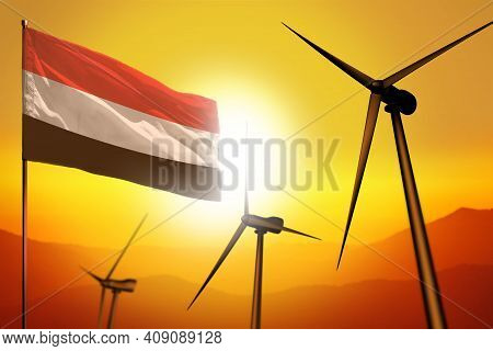 Yemen Wind Energy, Alternative Energy Environment Concept With Turbines And Flag On Sunset - Alterna