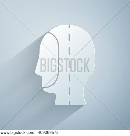 Paper Cut Diving Hood Icon Isolated On Grey Background. Spearfishing Hat Winter Swim Hood. Diving Un