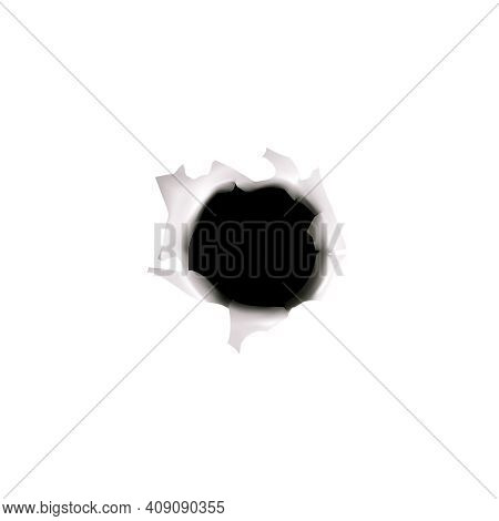 Bullet Holes Target Realistic Composition On Blank Background With Isolated Image Of Bullet Hole In