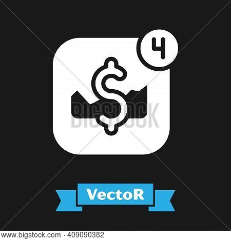 White Mobile Stock Trading Concept Icon Isolated On Black Background. Online Trading, Stock Market A