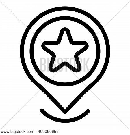 Favorite Gps Location Icon. Outline Favorite Gps Location Vector Icon For Web Design Isolated On Whi