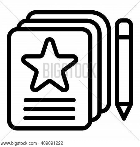 Writing Review Icon. Outline Writing Review Vector Icon For Web Design Isolated On White Background
