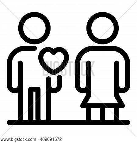 Human Love Sense Icon. Outline Human Love Sense Vector Icon For Web Design Isolated On White Backgro