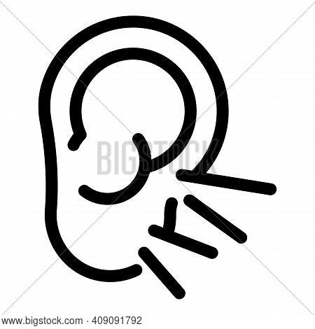 Ear Sense Icon. Outline Ear Sense Vector Icon For Web Design Isolated On White Background