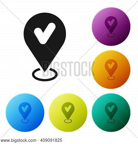Black Map Pin With Check Mark Icon Isolated On White Background. Navigation, Pointer, Location, Map,