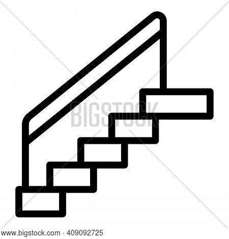 Stairs Icon. Outline Stairs Vector Icon For Web Design Isolated On White Background