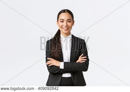 Successful Young Asian Businesswoman In Suit Ready Do Business, Cross Arms Confident And Smiling. Fe