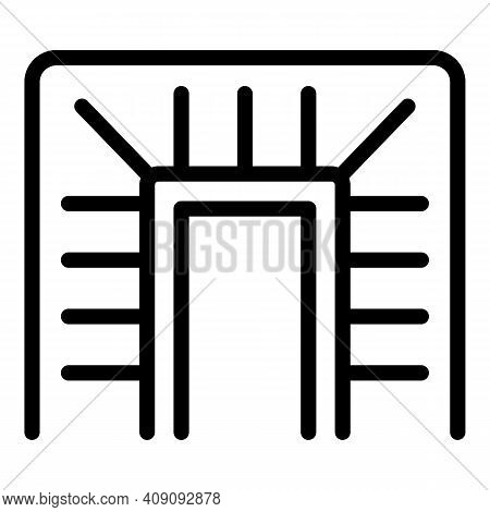 Steel Staircase Icon. Outline Steel Staircase Vector Icon For Web Design Isolated On White Backgroun