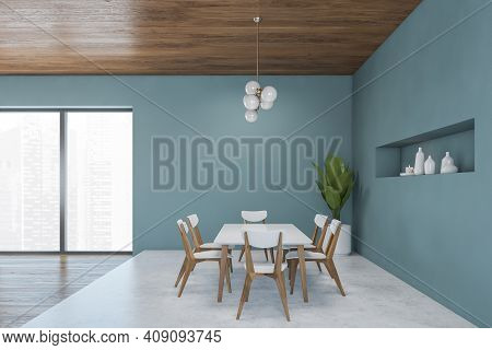 Light Blue Dining Room With Dining Table And Six White Wooden Chairs, Marble Floor. Large Eating Roo