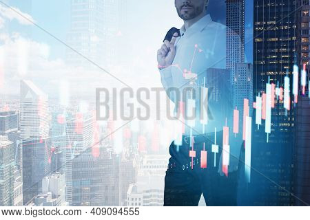 Front View Of Businessman In White Shirt Holding His Jaket. Financial Graphs, Candlestick, Analytics