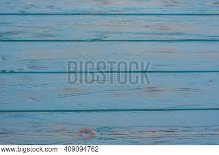 Blue Plank Wood Texture Background. Close Up Of Painted Wooden Fence Panels.